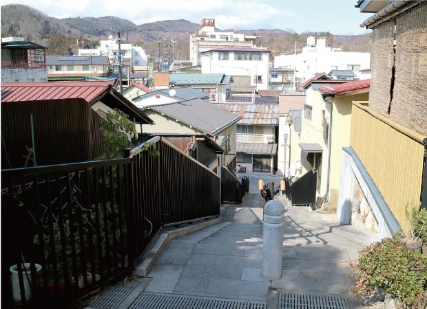 登った階段から見た街並
